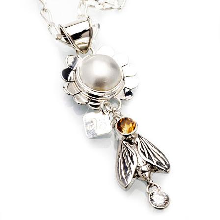 Hängsmycke pärla citrin silver Anna Örnberg