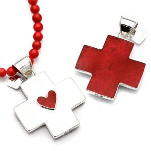 Pendant heart cross coral silver