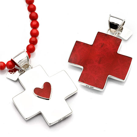 Pendant heart cross coral silver