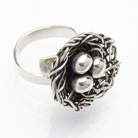 Fågelbo silver ring Anna Örnberg