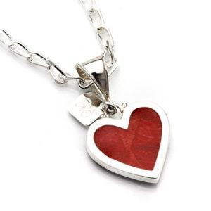 Pendant silver coral heart