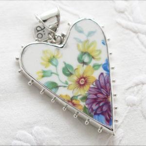 Vintage porslin silver hängsmycke Anna Örnberg
