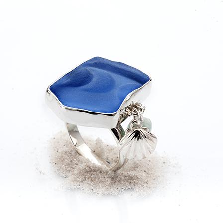 Ring silver sandslipat glas Anna Örnberg