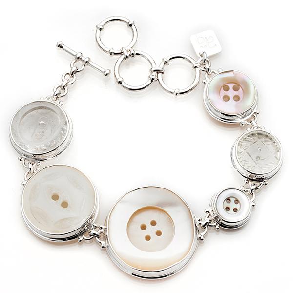 Vintage pärlemor glas knappar silver unikt Anna Örnberg