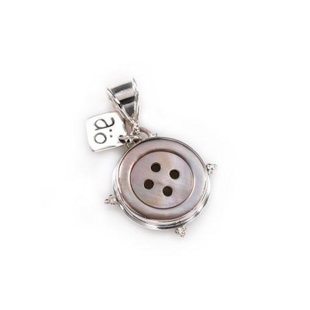 Vintage knapp pärlemor silver hängsmycke